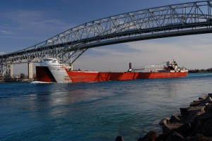 Arthur M. Anderson - upbound beneath the twin spans of the Blue Water Bridge, Port Huron, MI. Interesting aside - the Anderson was the ship nearest the Edmund Fitzgerald when it went down in Lake Superior on Nov. 10th, 1975. It had been in radio contact with the Fitz and was the first ship to search the area for survivors. Sadly, there were none.